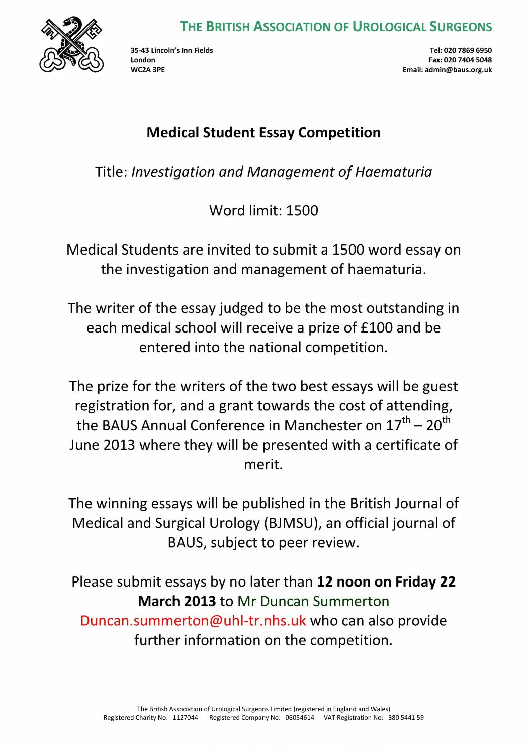 baus medical student essay competition