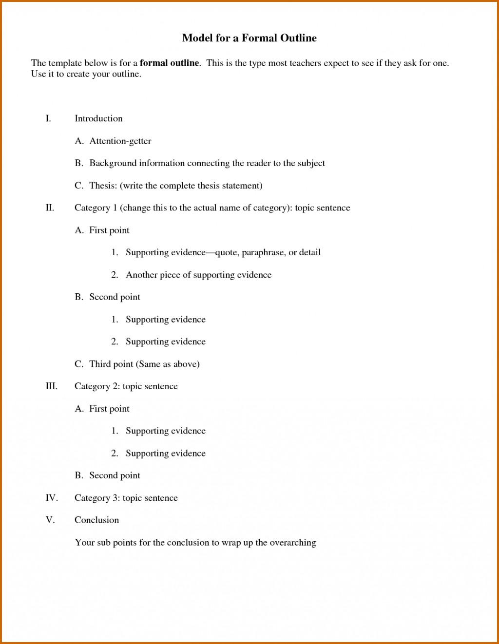 014 Essay Example Outline Of Informal Impressive Argumentative Sample Mla Format Large
