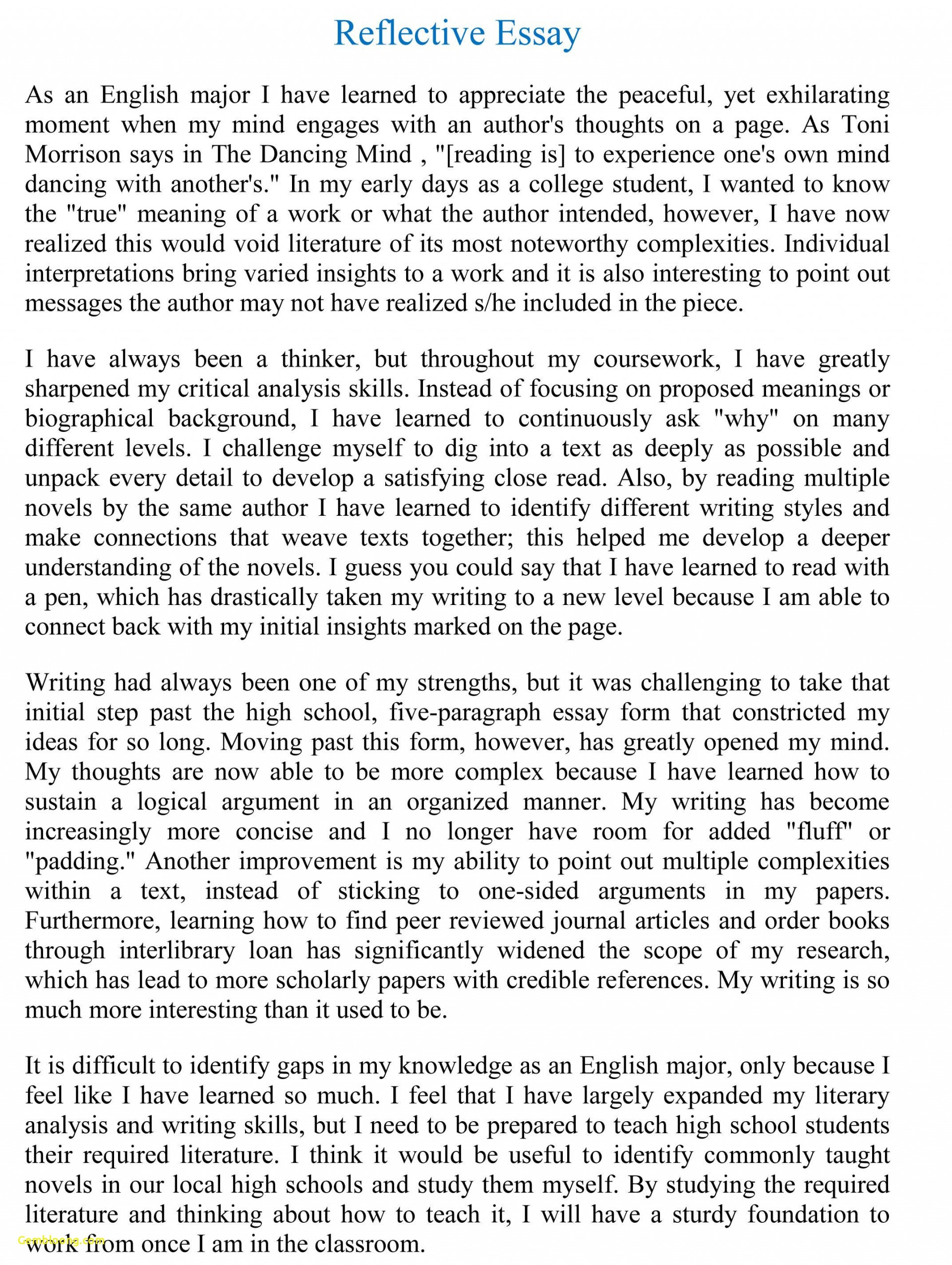 014 Essay Example Reflective Format Unique Writing Reflection Persuasive Phenomenal Self Assessment Paper Apa 1920