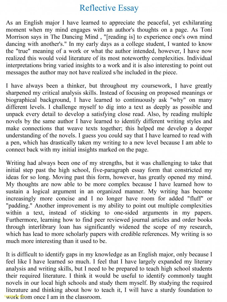 014 Essay Example Reflective Format Unique Writing Reflection Persuasive Phenomenal Self Assessment Paper Apa 728