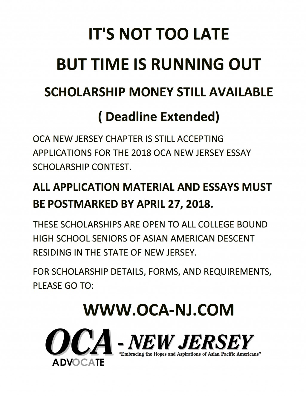 014 Essay Example Scholarships Entended Deadline Oca Nj Shocking 2018 Canada 2019 No For High School Juniors Large