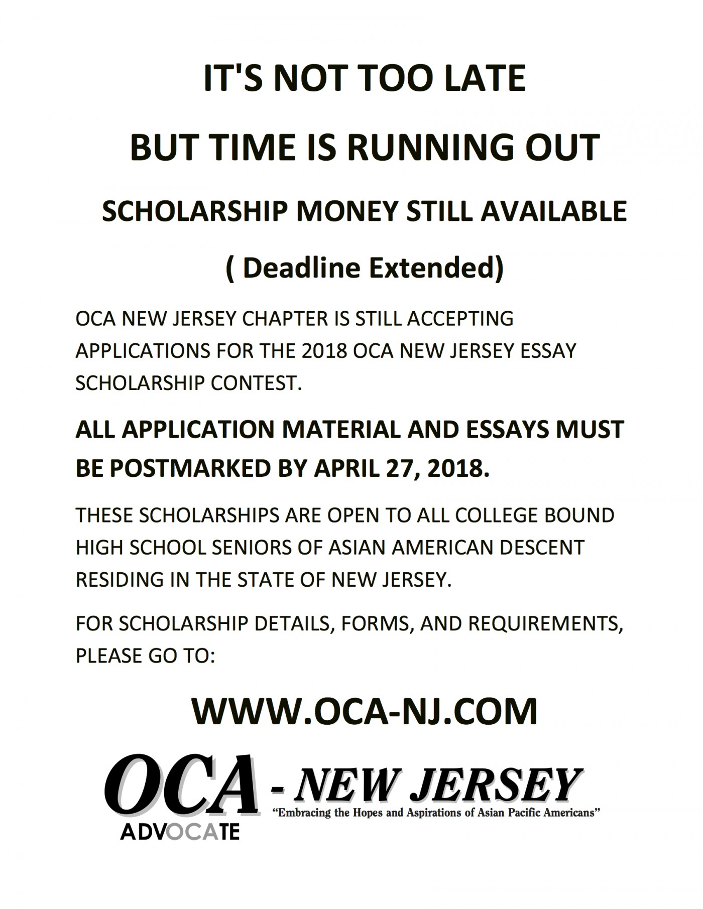 014 Essay Example Scholarships Entended Deadline Oca Nj Shocking 2018 For International Students Examples Canada 2019 1400