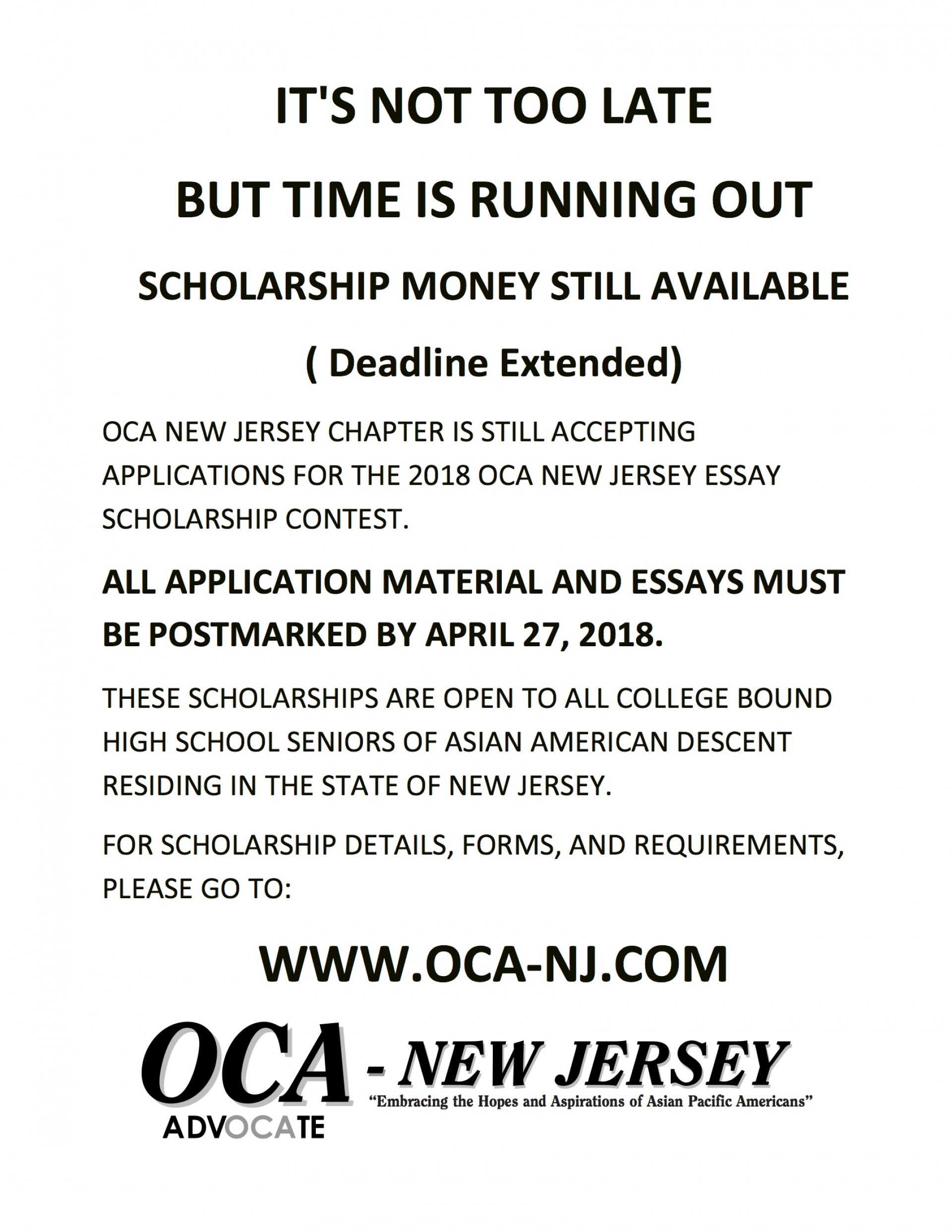 014 Essay Example Scholarships Entended Deadline Oca Nj Shocking 2018 Canada 2019 No For High School Juniors 1920
