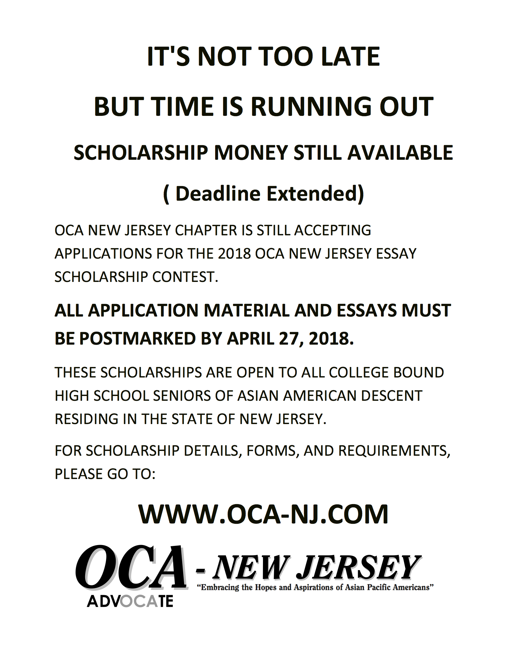 014 Essay Example Scholarships Entended Deadline Oca Nj Shocking 2018 Canada 2019 No For High School Juniors Full