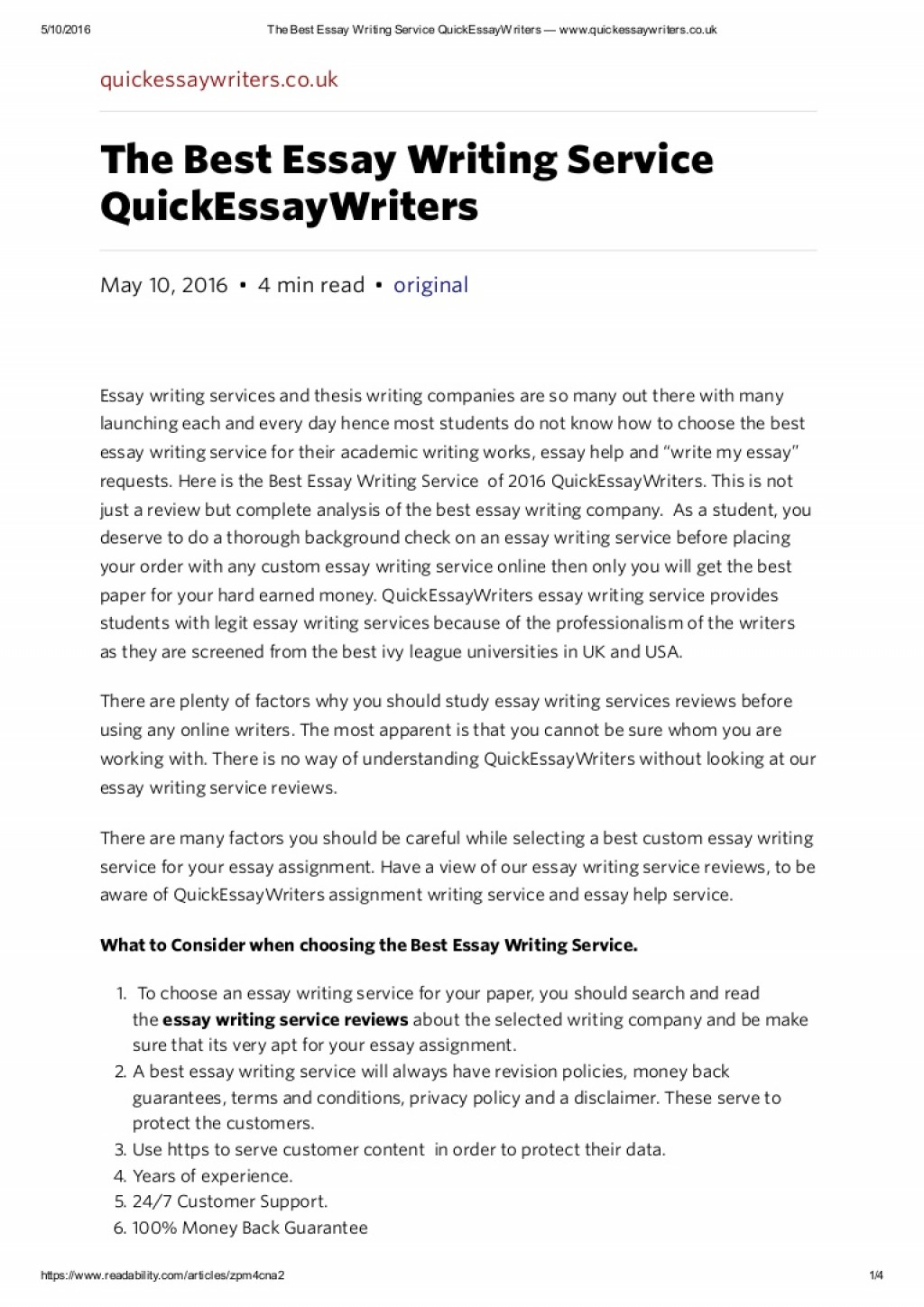 014 Essay Example Thebestessaywritingservicequickessaywriterswww Thumbnail Best Awful Writing Program Books Service In Us Large