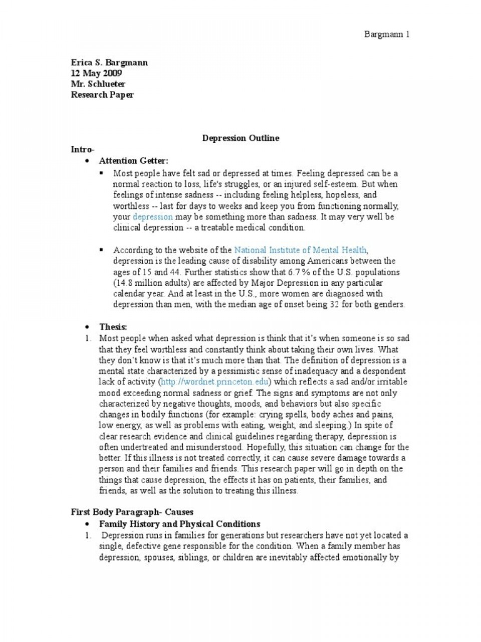 Social anxiety disorder research paper outline