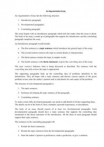 014 Example Of Argumentative Essay Conclusion Argumentativeessaystructure Phpapp01 Thumbnail Beautiful Introduction Body And 360