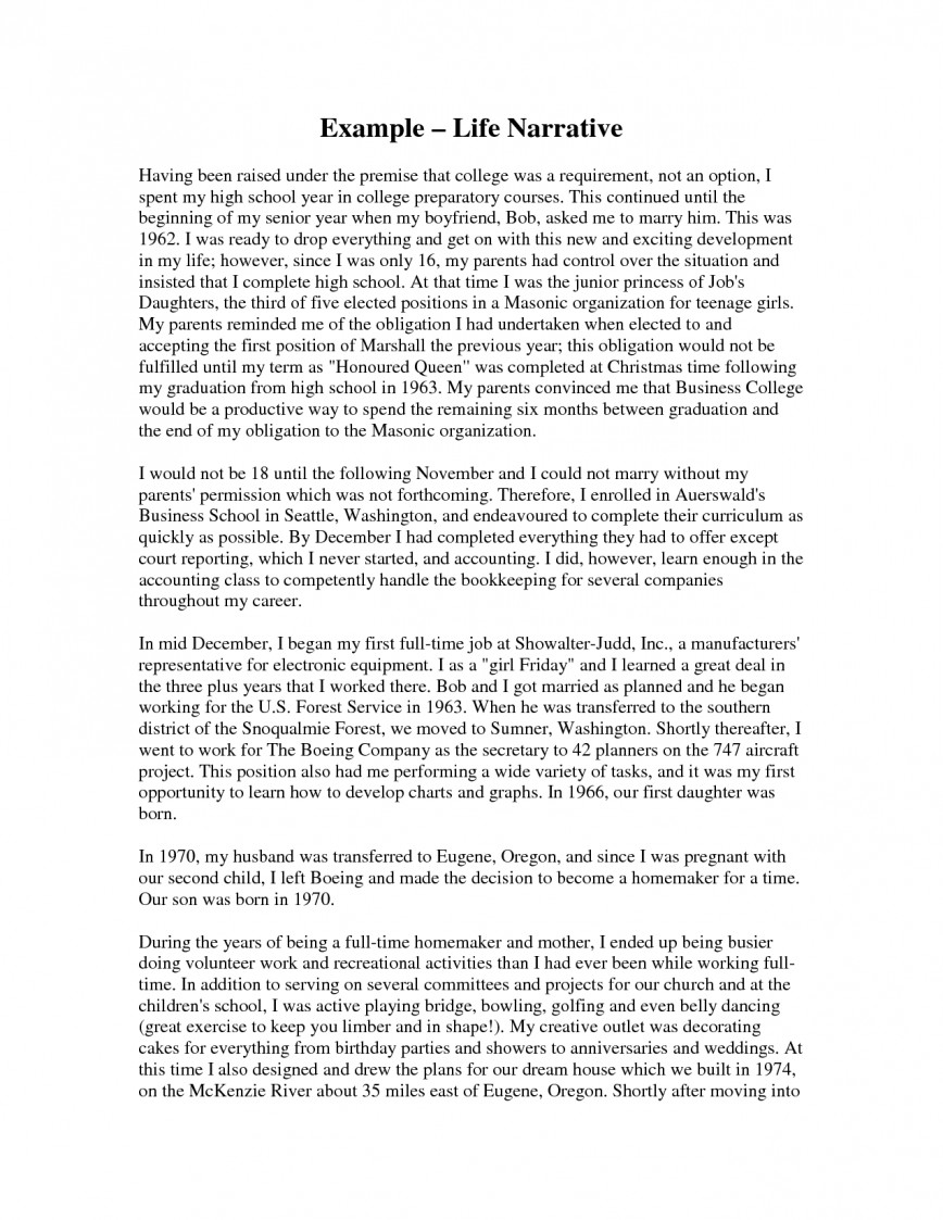 014 Example Of Narrative Essay Describing Sample L Imposing A Introduction Format About Love 868