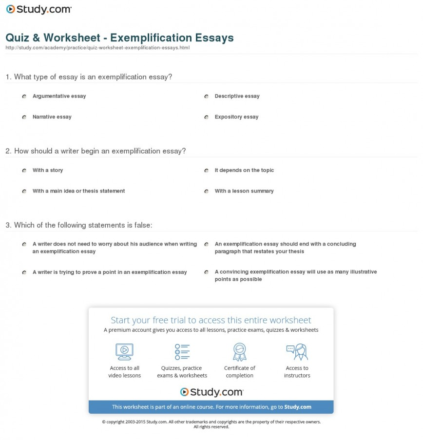 014 Exemplification Essay Examples Example Quiz Worksheet Stupendous Free Conclusion College