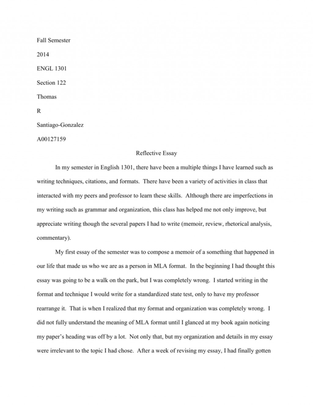 014 How To Write Reflective Essay 007151533 1 Staggering A Thesis First Class Large