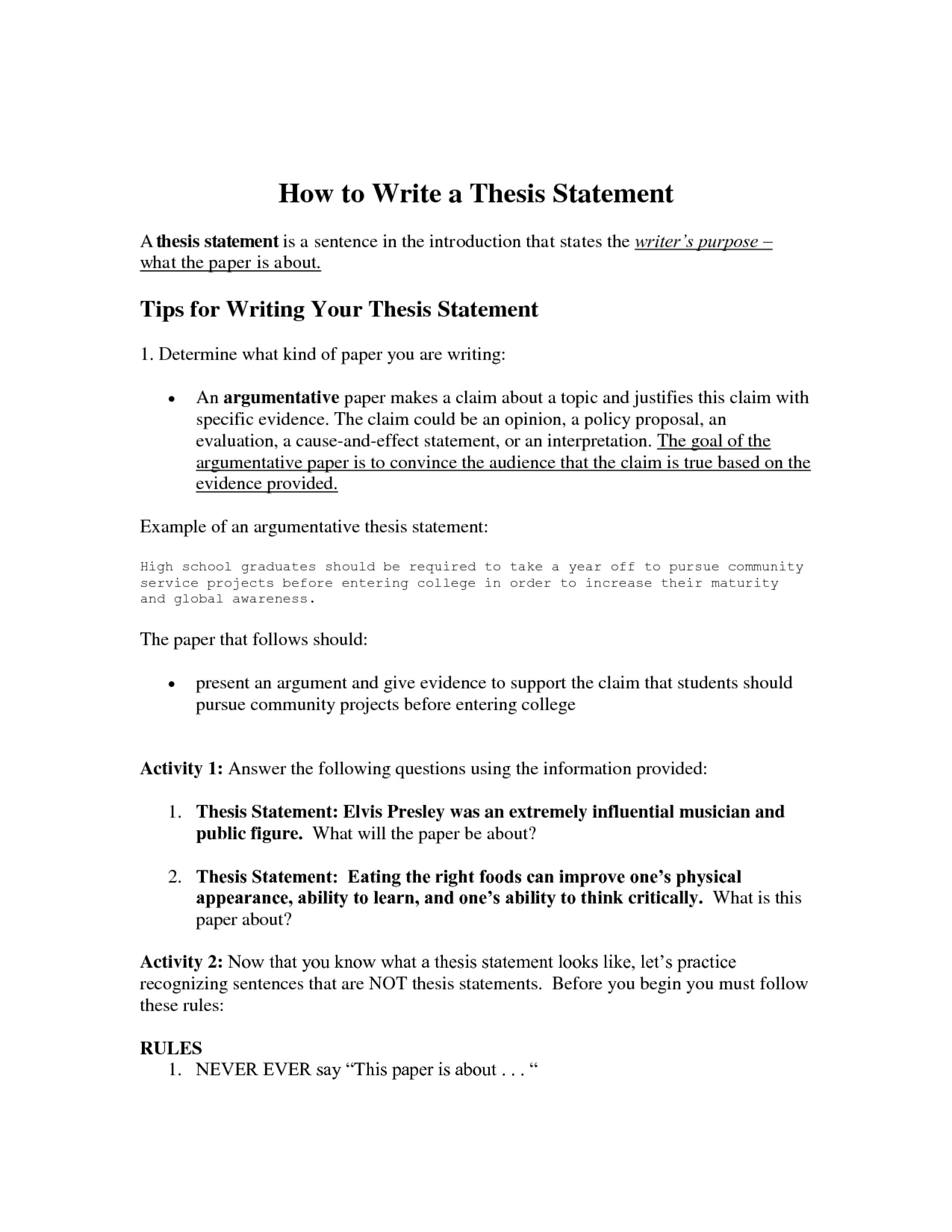 014 How To Write Thesis Statement For An Essay Statements Worksheets 488564 Frightening A Do You Informative Step By Argumentative 1920