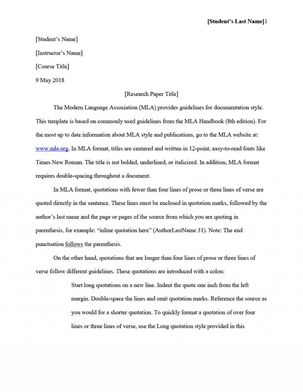 014 Mla Format Template Essay Rare Example Style Pdf Large