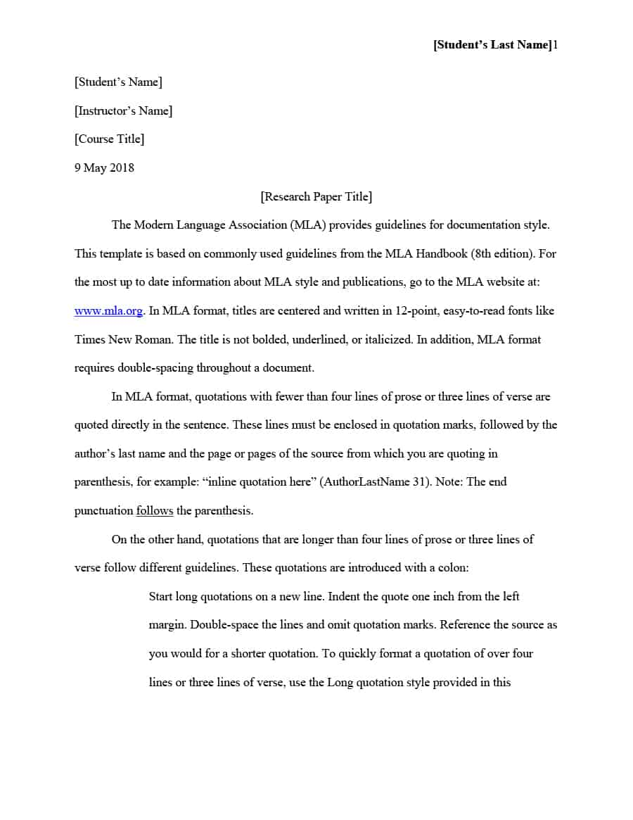 014 Mla Format Template Essay Rare Example Style Pdf Full