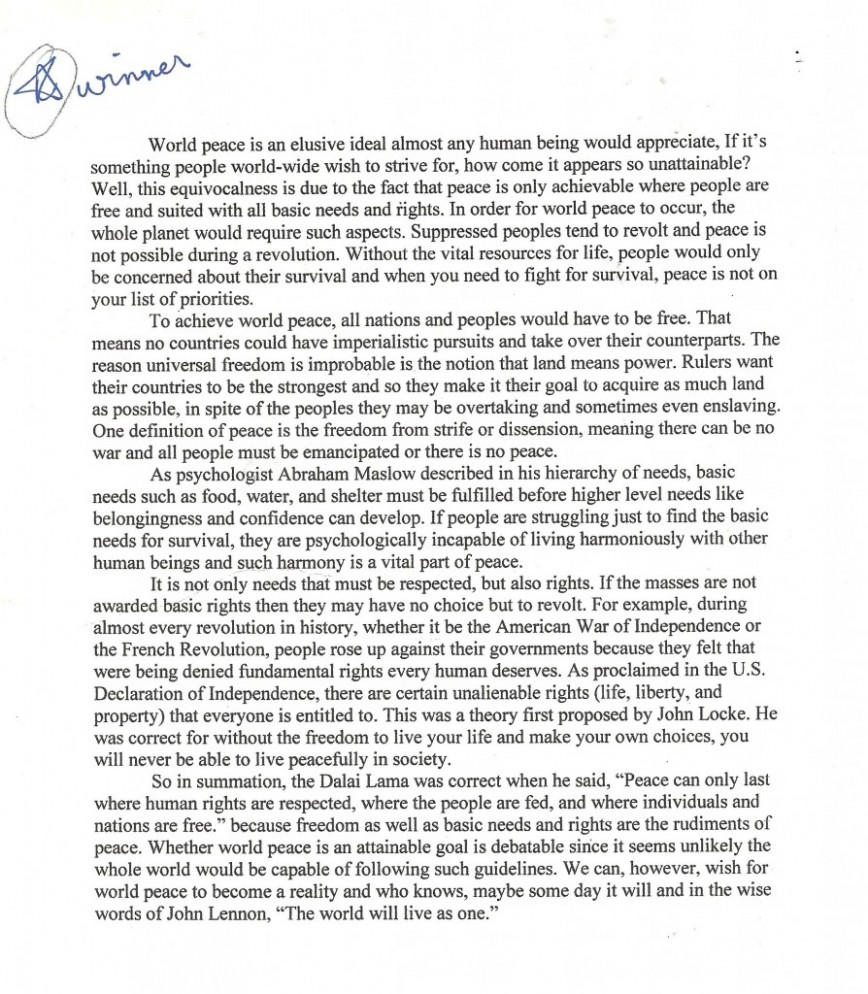 014 National Peace Essay Contest For How To Write Paragraph Persuasive Mr Contests High School Students Winner Wyla Goldstein Palm Beach Central Essay1 United States Marvelous 2019