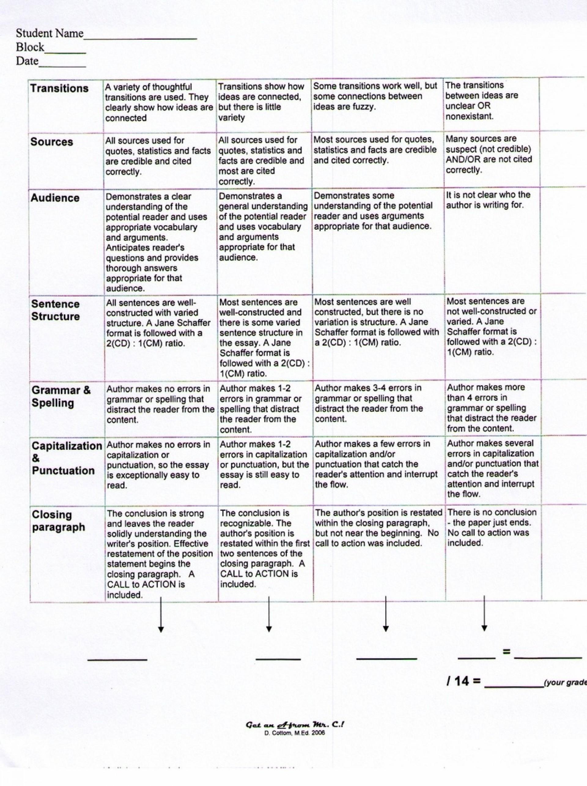 014 Persuasive20essay20rubric20pg2cbu003d Persuasive Essay Rubric Stunning Argumentative Grade 10 8th Doc Middle School Pdf 1920