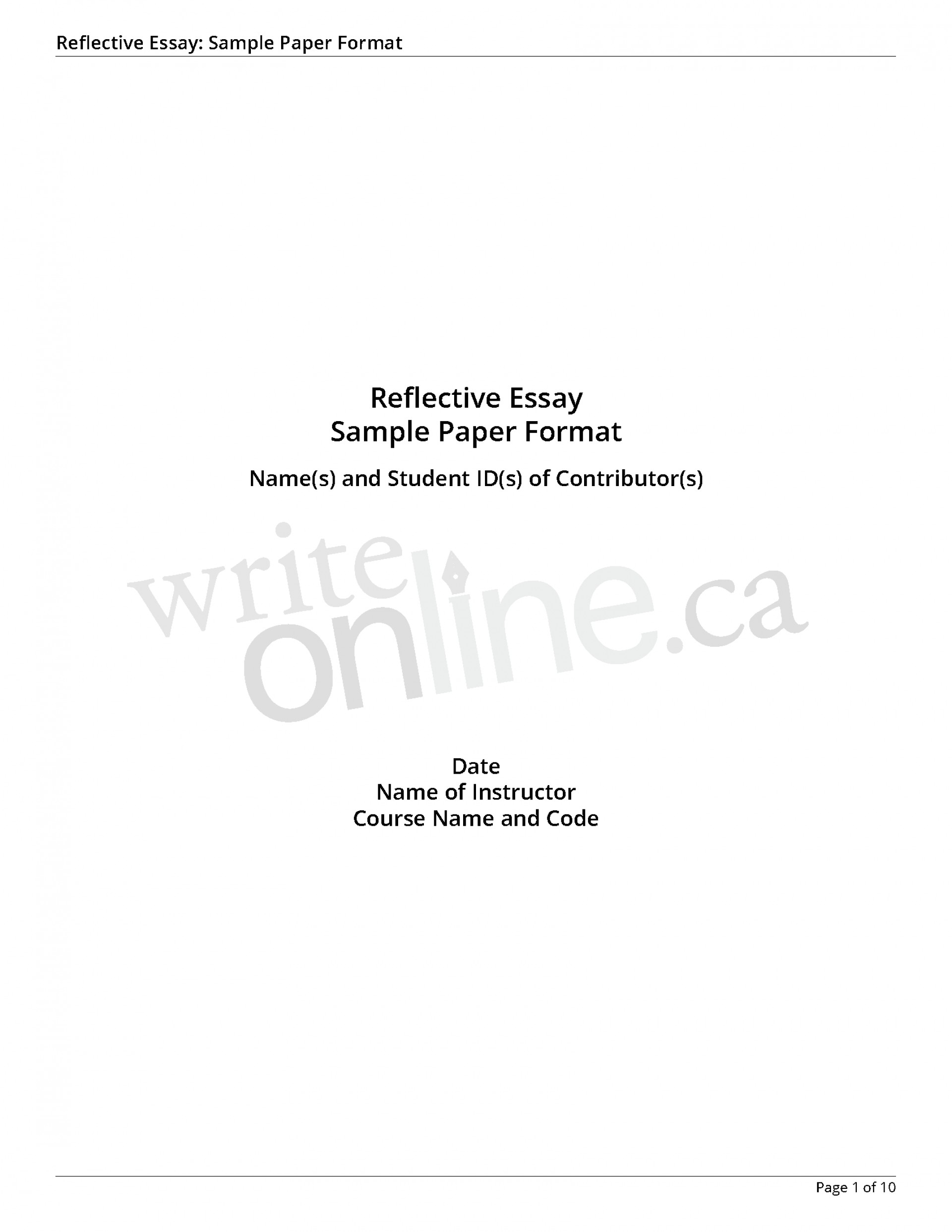 014 Reflectiveessay Sample Page 1 How To Write Reflective Essay Marvelous A Introduction Example On Book Do You 1920
