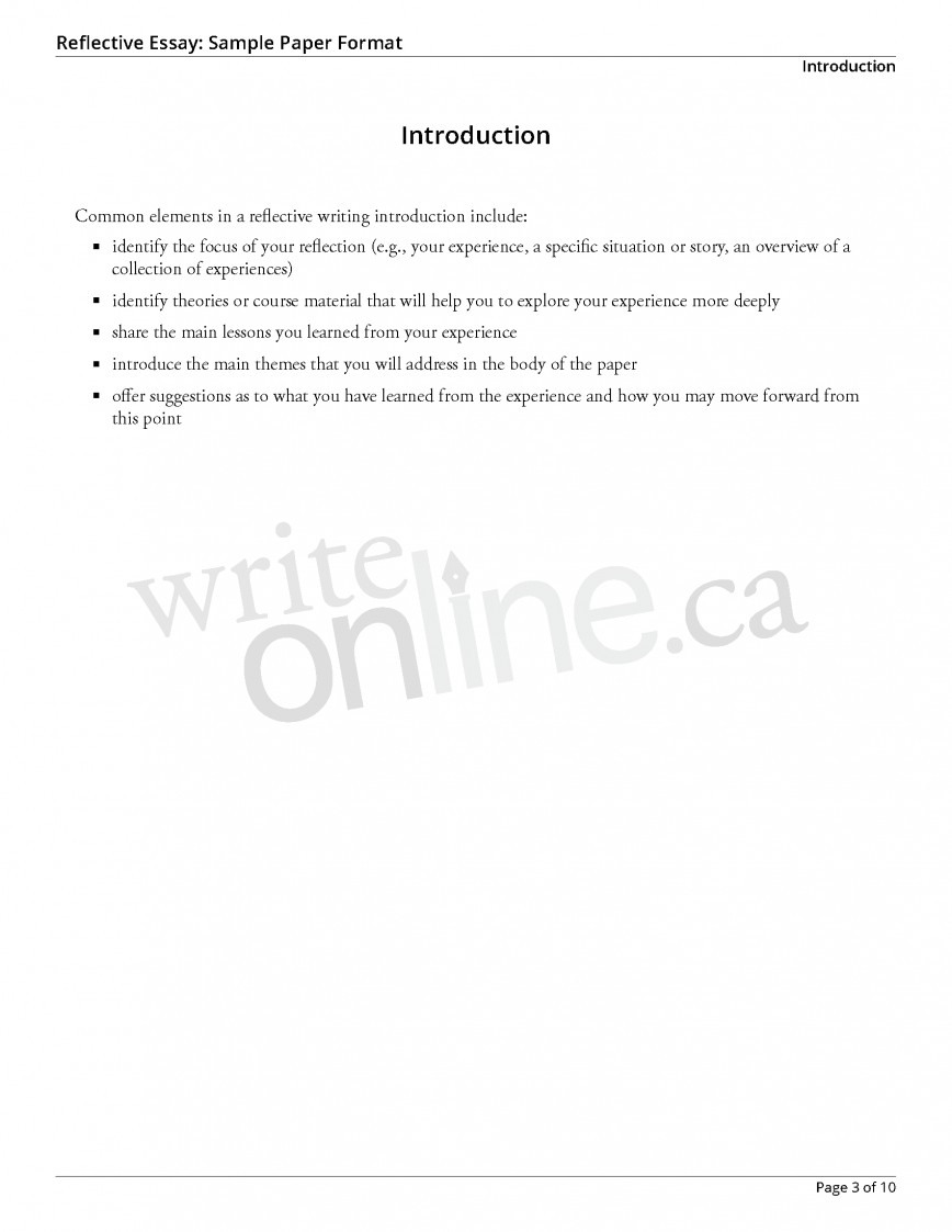 014 Reflectiveessay Sample Page 3 Essay Example Academic Dreaded Goals For Graduate School College Educational Outline