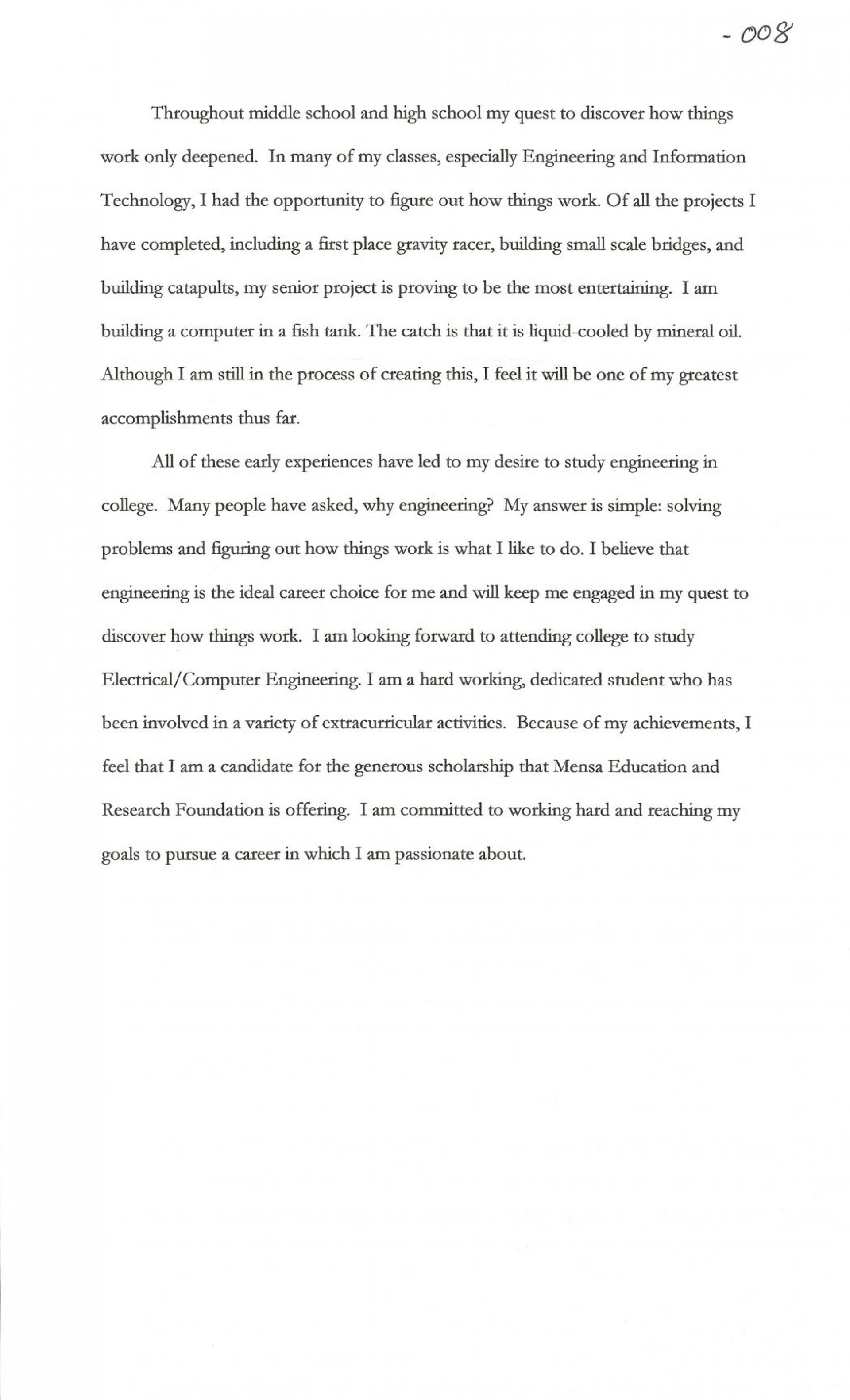 014 Sample Essay For Scholarship Scholarships Cover Letter Contests High School Juniors Joshua Cate No 1048x1726 Incredible Mara Personal Pdf 1920