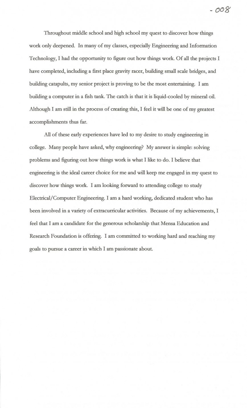 014 Sample Essay For Scholarship Scholarships Cover Letter Contests High School Juniors Joshua Cate No 1048x1726 Incredible Why I Deserve The Chevening