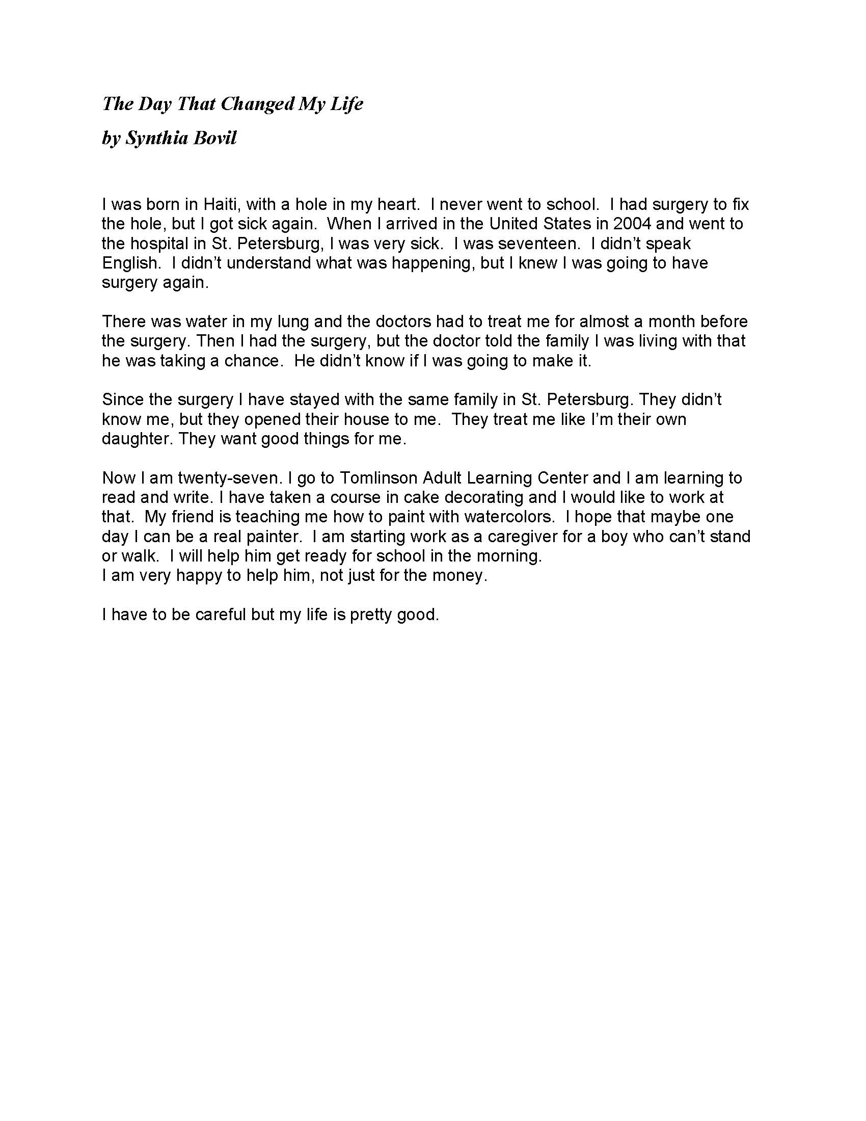 014 Student Essay Example Stories May 2014 Page 1 Awesome Medical Competitions 2017 Database Template Full