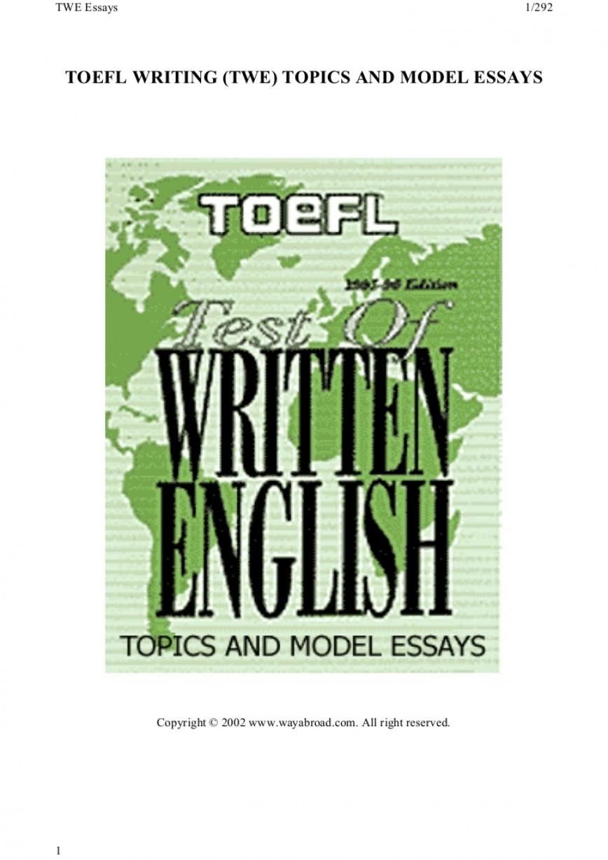 015 185toeflwritingtwetopicsandmodelessays Phpapp01 Thumbnail Toefl Essay Topics Impressive With Answers Pdf 185 List