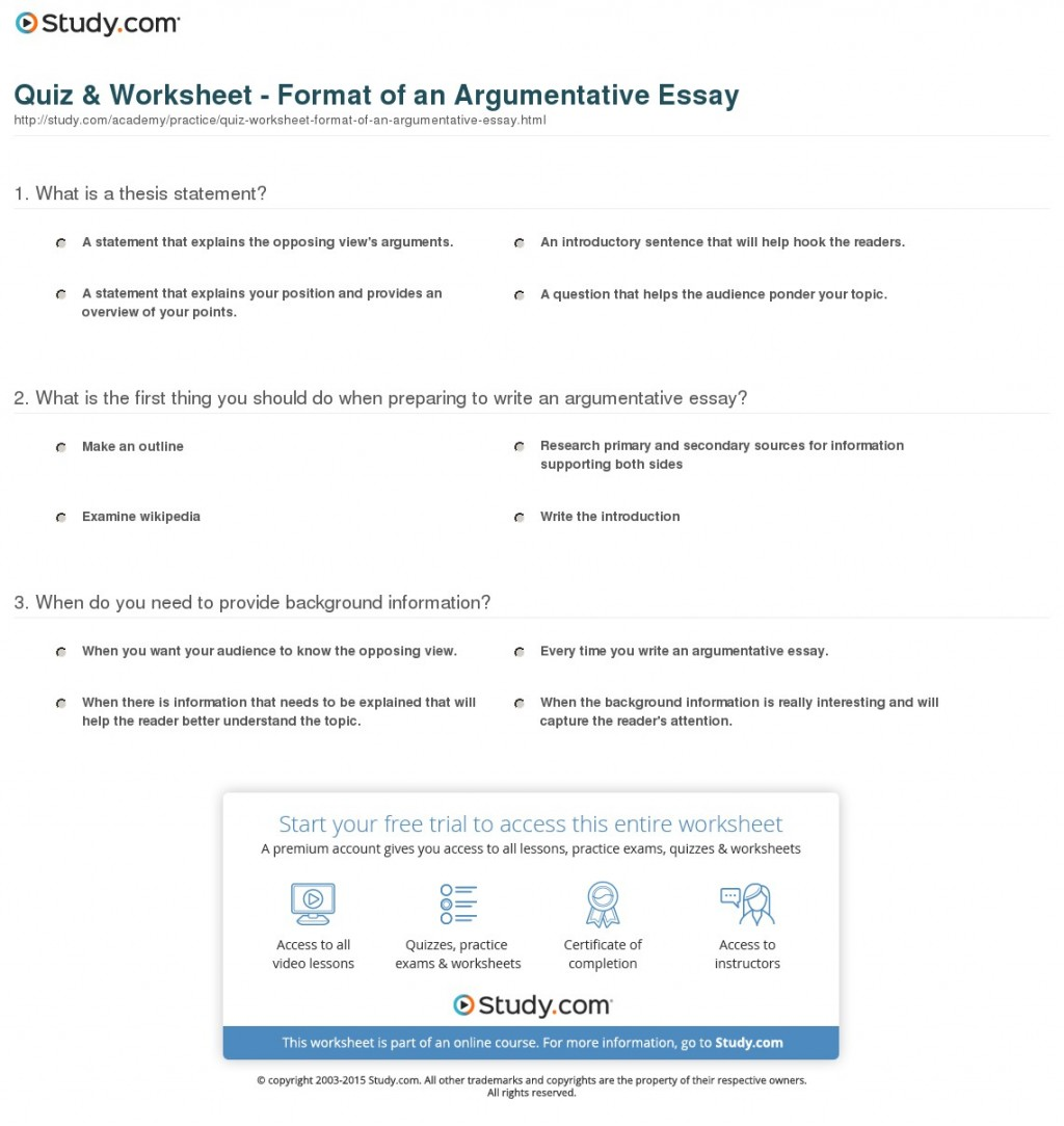 015 Argumentative Essay Format Quiz Worksheet Of An Best Template Outline Sample Pdf Large