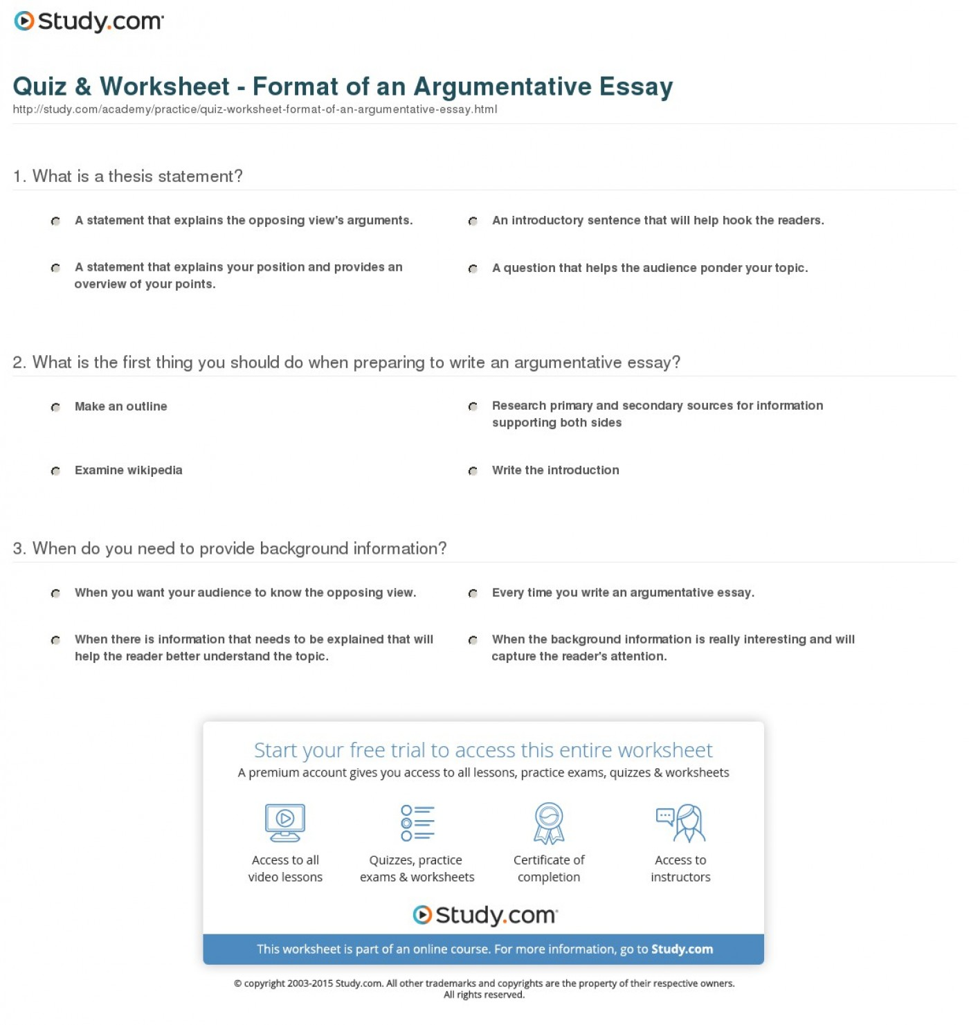 015 Argumentative Essay Format Quiz Worksheet Of An Best Template Outline Sample Pdf 1400