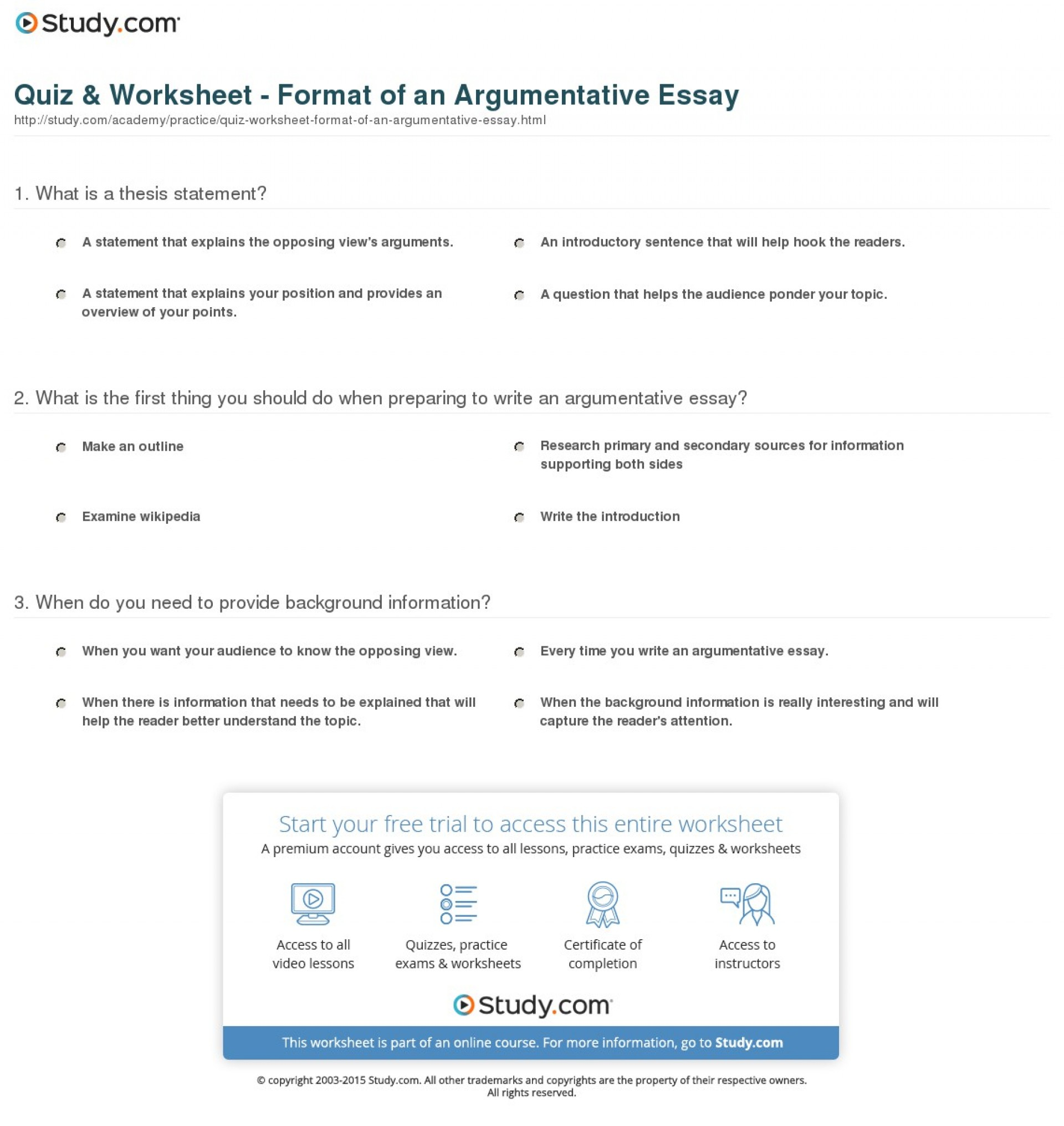 015 Argumentative Essay Format Quiz Worksheet Of An Best Template Outline Sample Pdf 1920