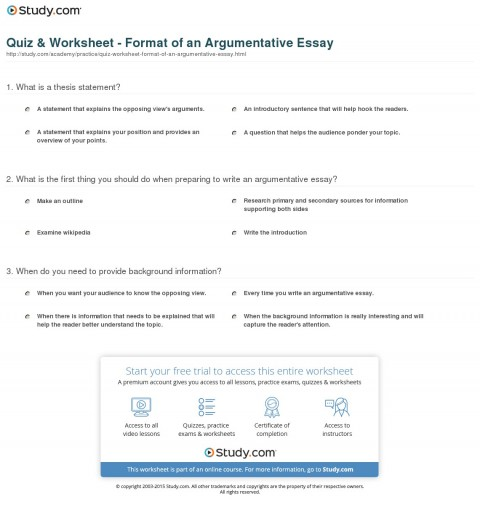 015 Argumentative Essay Format Quiz Worksheet Of An Best Template Outline Sample Pdf 480