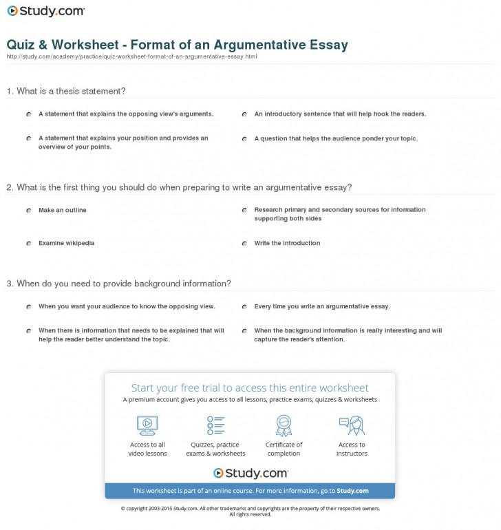015 Argumentative Essay Format Quiz Worksheet Of An Best Template Outline Sample Pdf 728