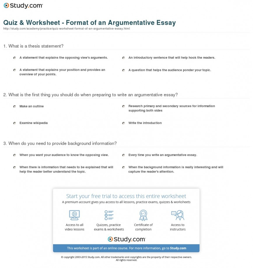 015 Argumentative Essay Format Quiz Worksheet Of An Best Template Outline Sample Pdf 868