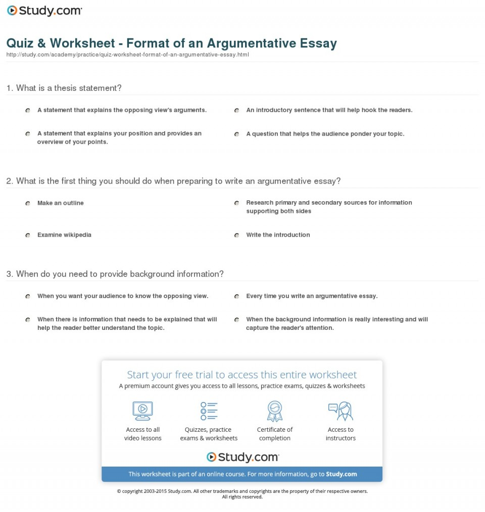 015 Argumentative Essay Format Quiz Worksheet Of An Best Template Outline Sample Pdf 960