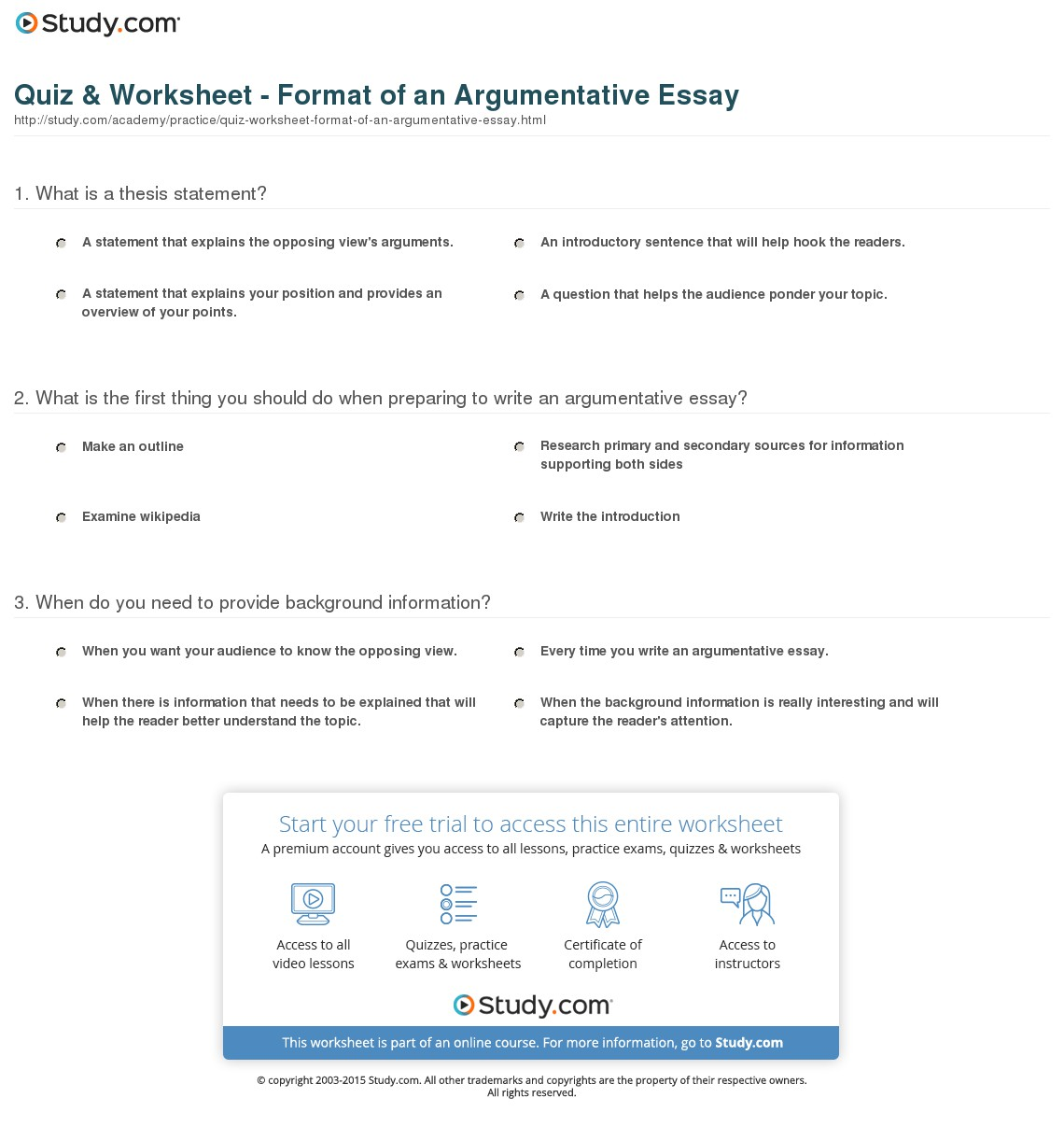 015 Argumentative Essay Format Quiz Worksheet Of An Best Outline Template College Examples Pdf Full