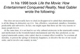 015 Argumentative Essay Powerpoint Example In His Bookife The Movie How Entertainment Conquered Reality Neal Gabler Wrote Following Frightening Presentation Slides For Middle School