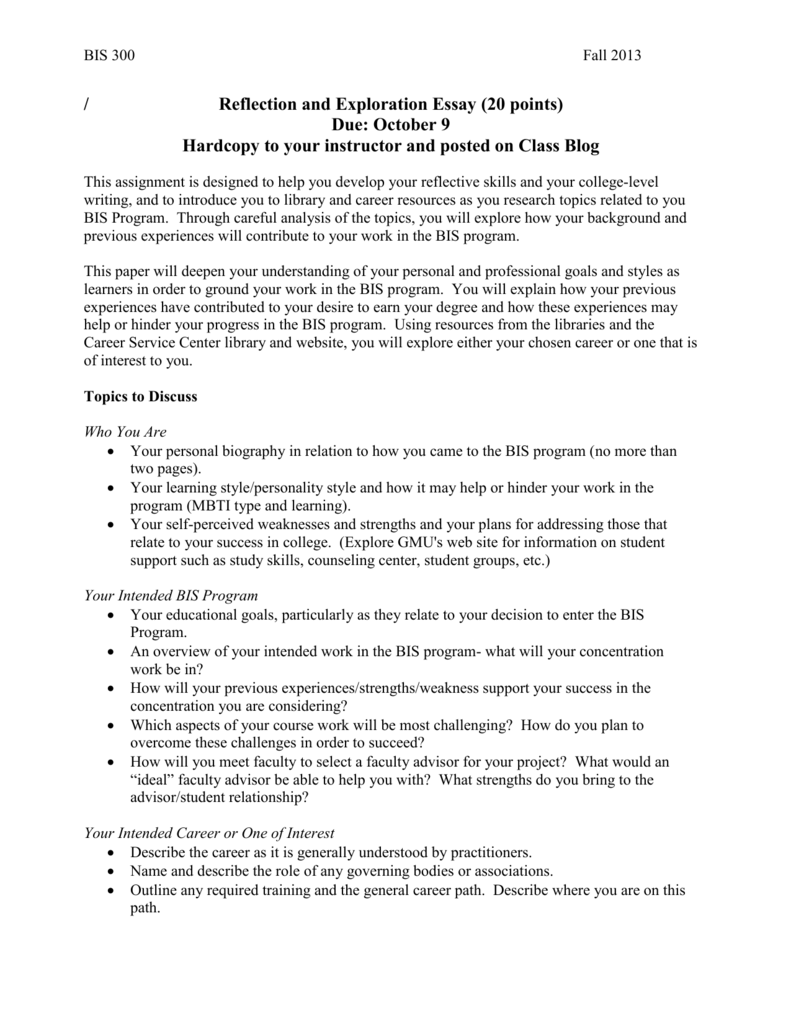 015 Essay Example 007169098 1 On Breathtaking Career Goals And Aspirations Sample Choosing A Path Full