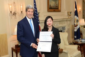015 Essay Example 1280px Secretary Kerry Meets With Afsa Winner2c Kailee Pedersen High School Staggering Contest