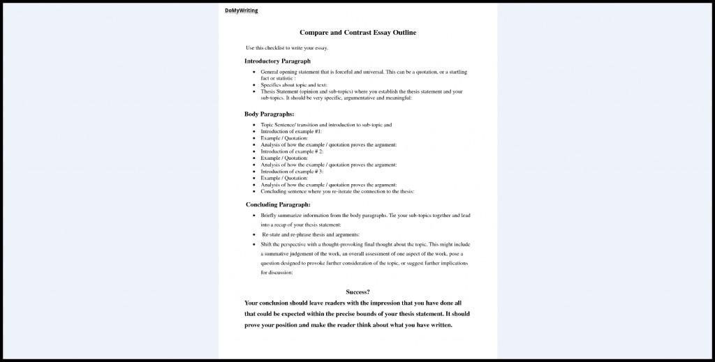 015 Essay Example Compare And Contrast Breathtaking Outline Comparison Sample Point By For Middle School Large