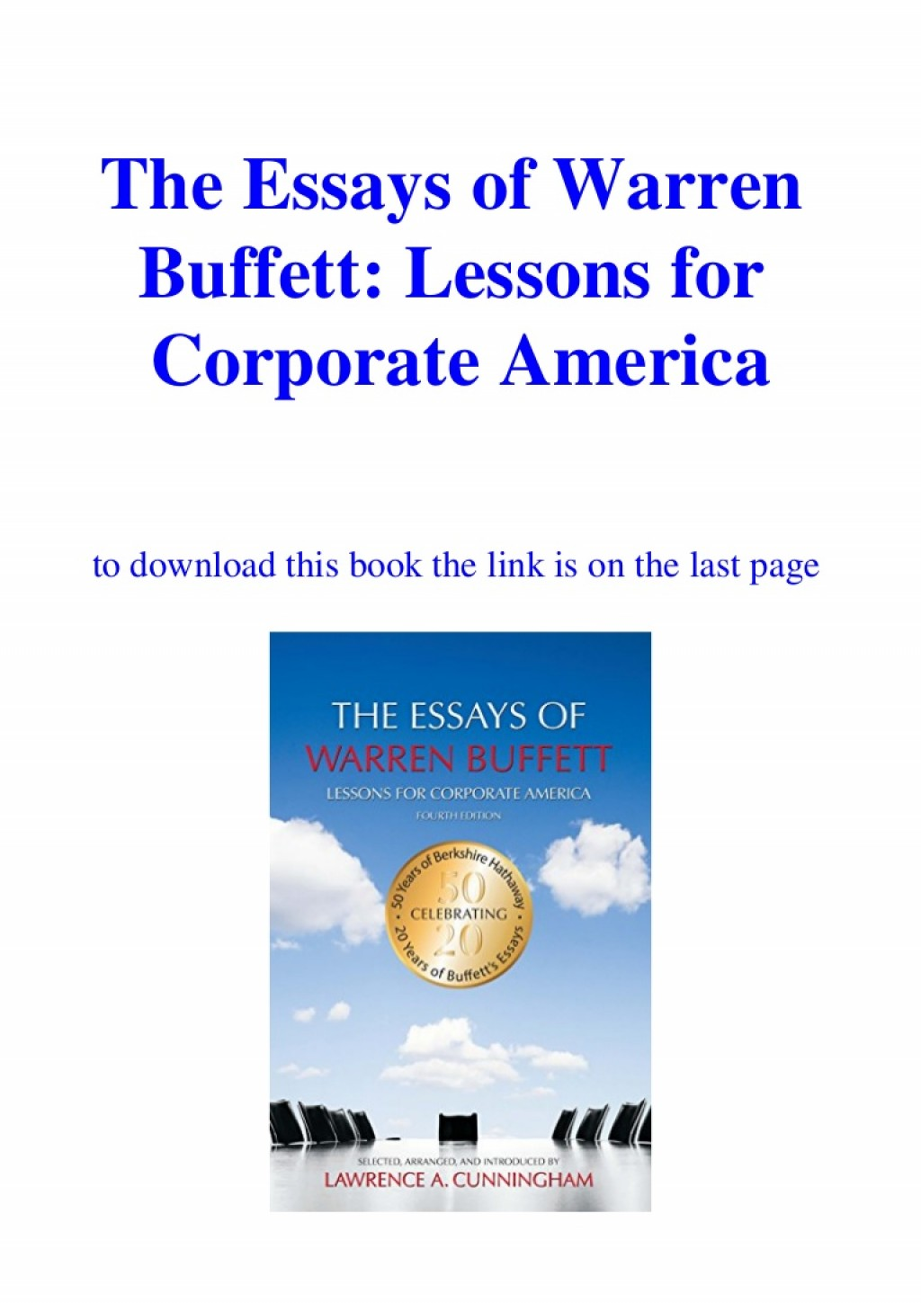015 Essay Example Downloadtheessaysofwarrenbuffettlessonsforcorporateamericaebookpdf Thumbnail The Essays Of Warren Buffett Lessons For Corporate Remarkable America Third Edition 3rd Second Pdf Audio Book Large