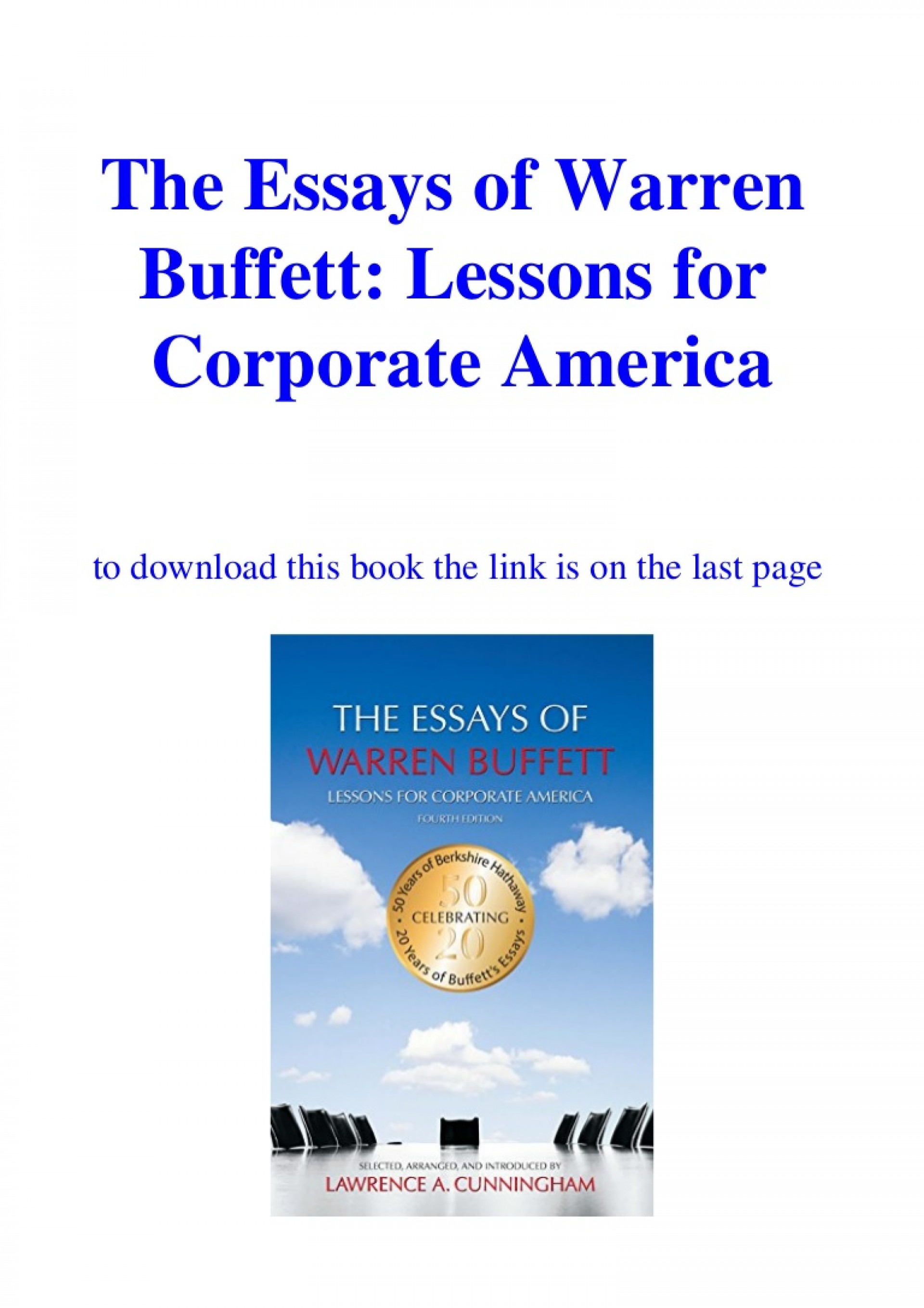 015 Essay Example Downloadtheessaysofwarrenbuffettlessonsforcorporateamericaebookpdf Thumbnail The Essays Of Warren Buffett Lessons For Corporate Remarkable America Third Edition 3rd Second Pdf Audio Book 1920