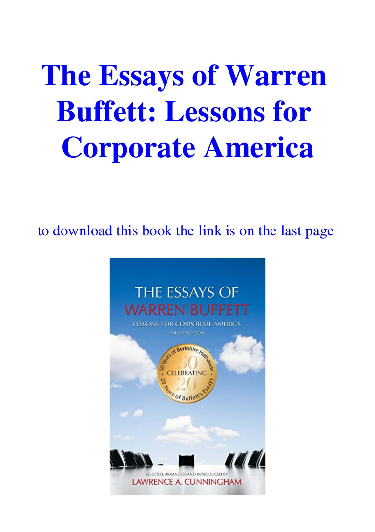015 Essay Example Downloadtheessaysofwarrenbuffettlessonsforcorporateamericaebookpdf Thumbnail The Essays Of Warren Buffett Lessons For Corporate Remarkable America Third Edition 3rd Second Pdf Audio Book Full