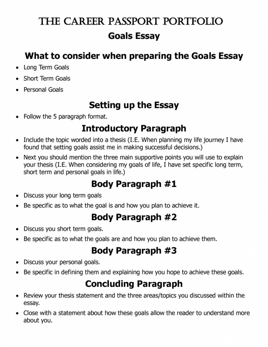 015 Essay Example Goals Short And Long Term Pevita L Awesome Mba Consulting Academic For College Sample 868
