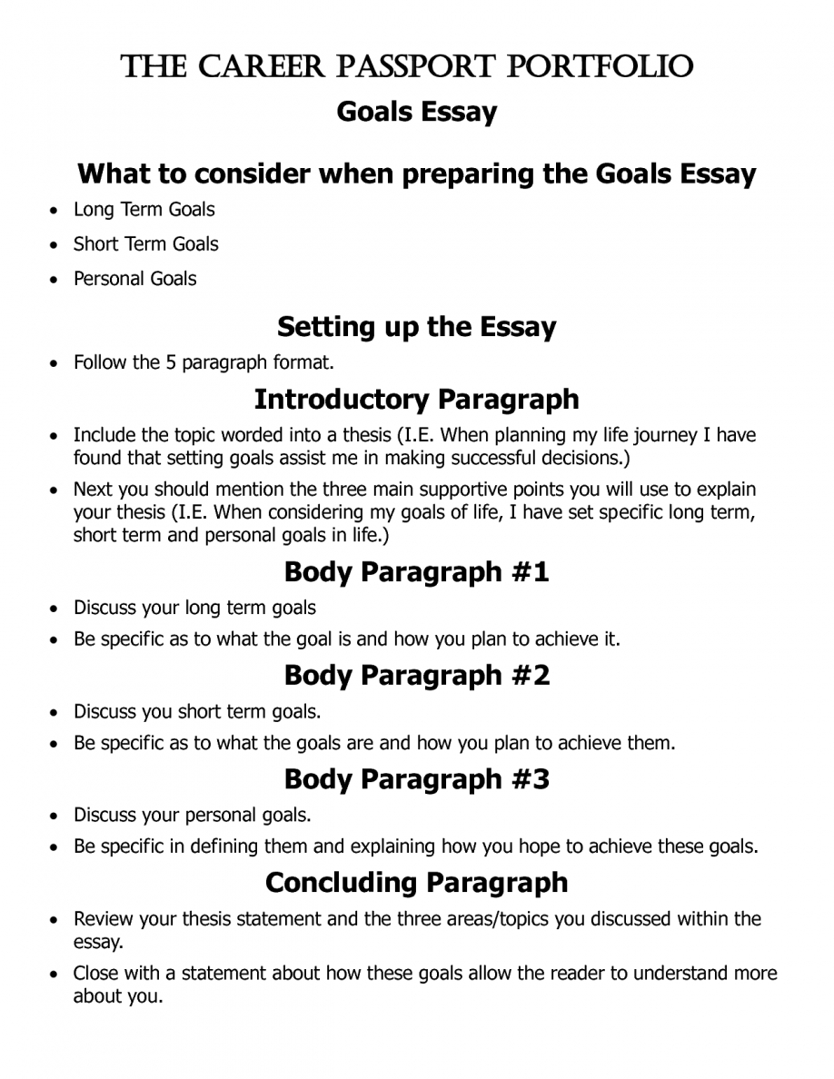 015 Essay Example Goals Short And Long Term Pevita L Awesome Career Sample Graduate School Future For College High Full