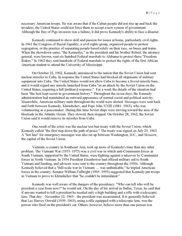 015 Essay Example Jfkmlashortformbiographyreportexample Page 3 College Format Wonderful Mla Research Paper Examples Large