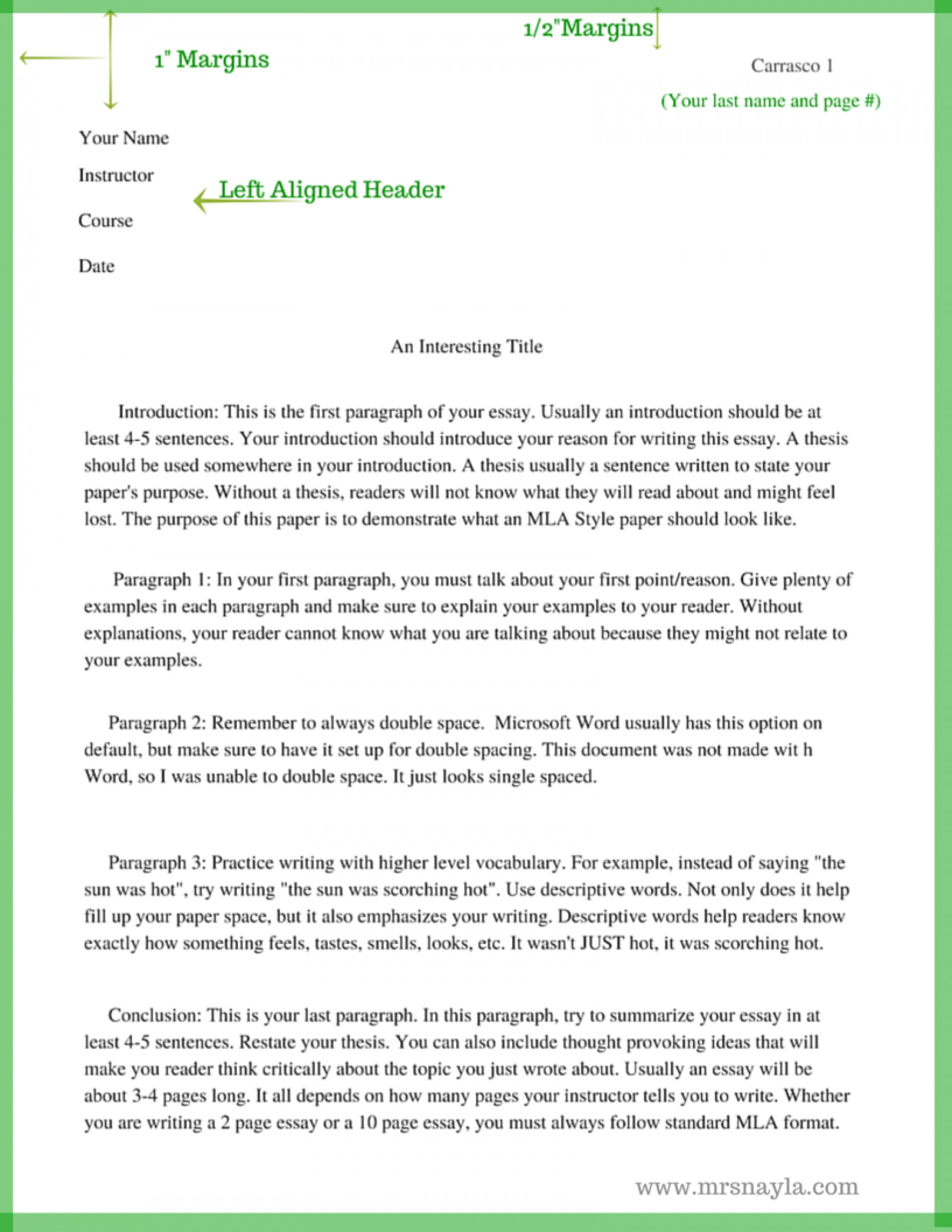 015 Essay Example Mla Style Sample Format Www Mrsnayla Com Writing Pinterest English Best Outline For College 1920