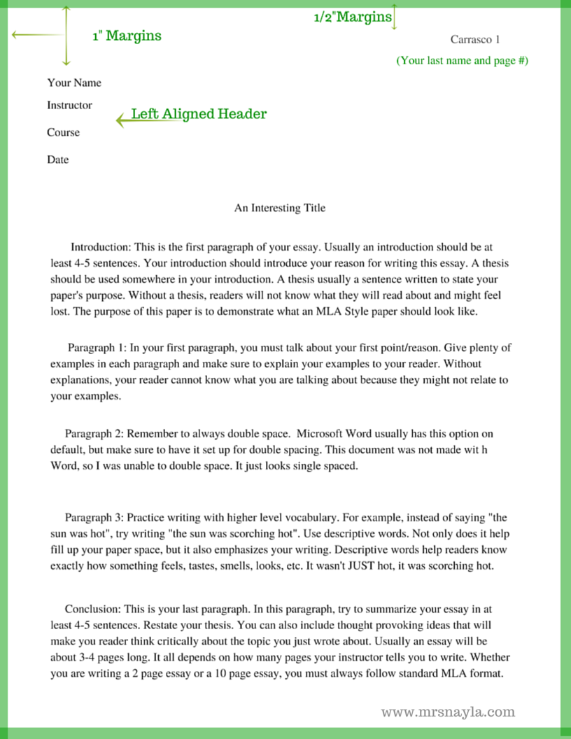 015 Essay Example Mla Style Sample Format Www Mrsnayla Com Writing Pinterest English Best Outline For College Full