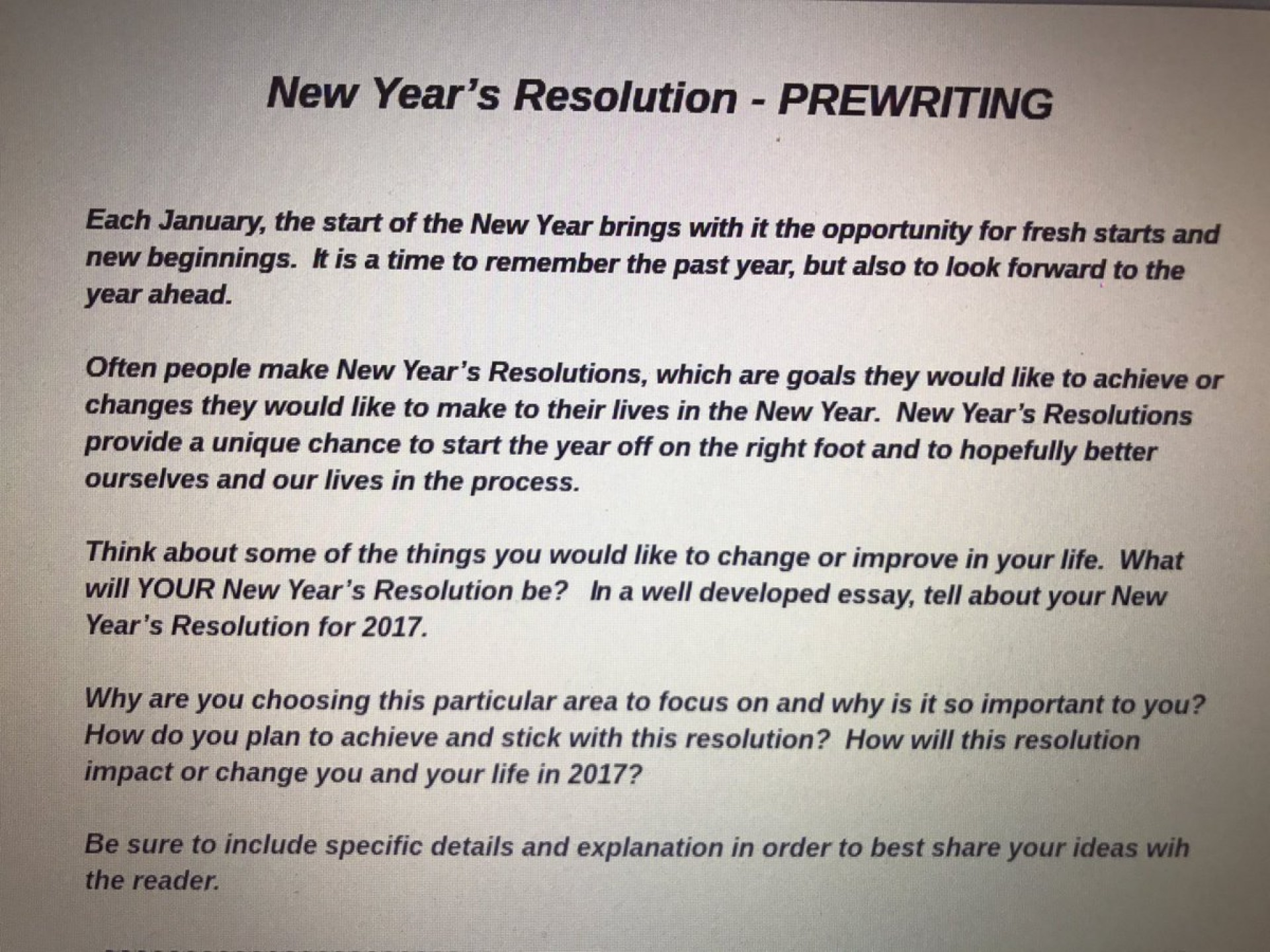 [] New Year Resolution Essay for Students - India Darpan