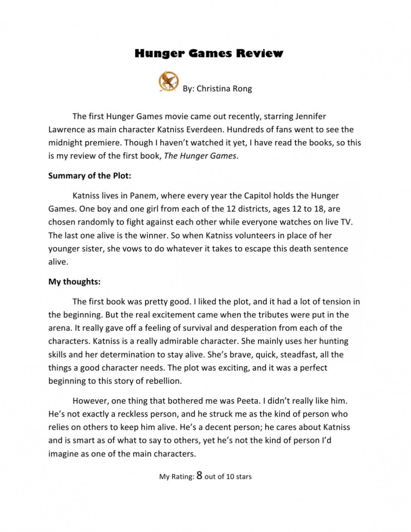015 Essay Example Page 1 The Hunger Games Book Imposing Review 1400
