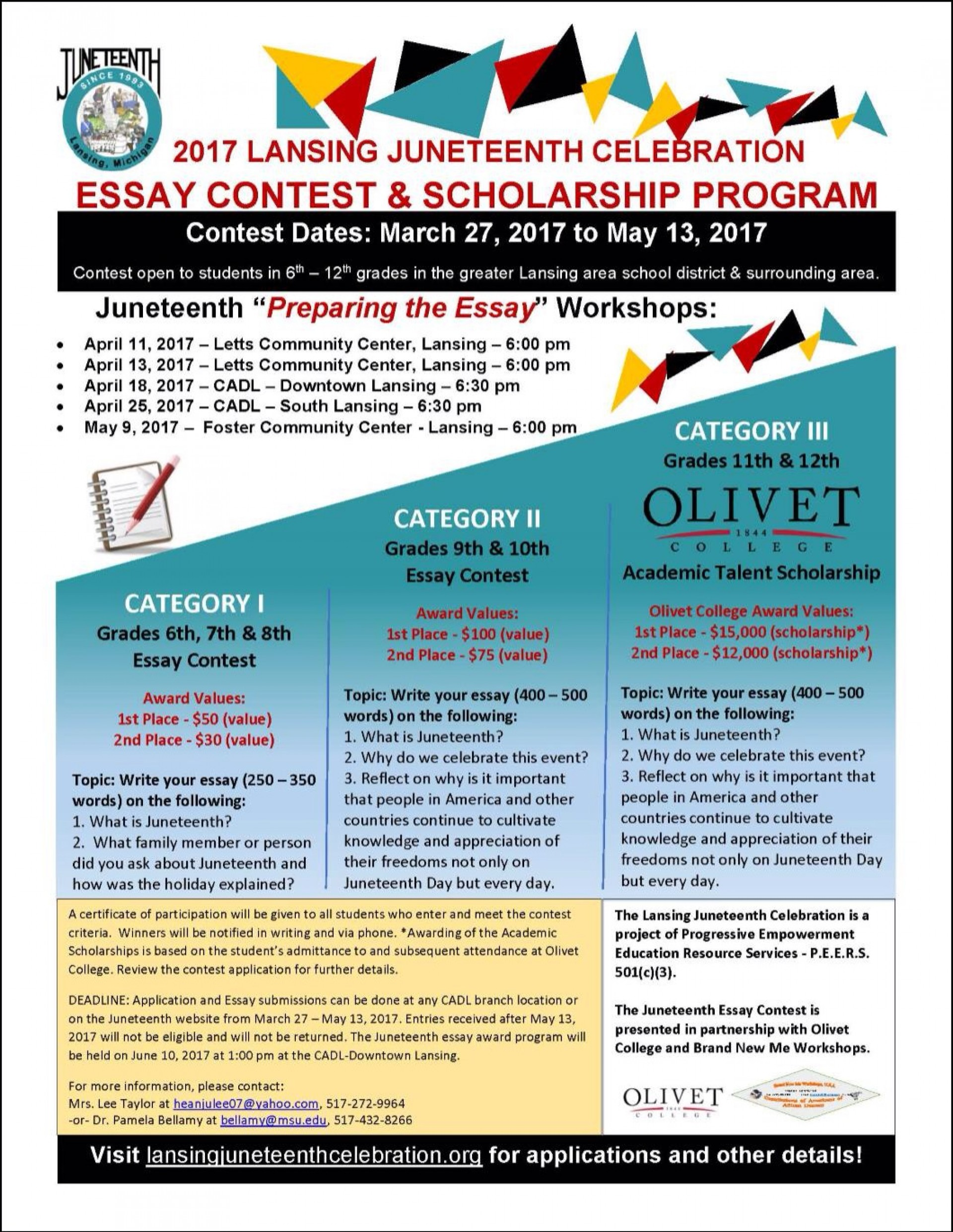 015 Essay Example Scholarship Contest Img 3215 Astounding Contests For High School Students 2019 Middle 1920
