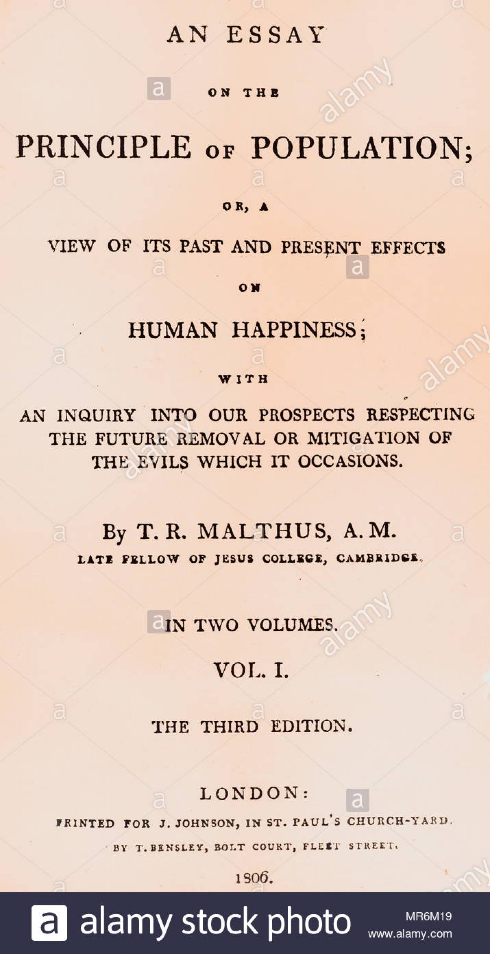 015 Essay Example Thomas Malthus On The Principle Of Population Title Page Written By Robert An English Cleric And Stupendous After Reading Malthus's Principles Darwin Got Idea That Ap Euro 1920