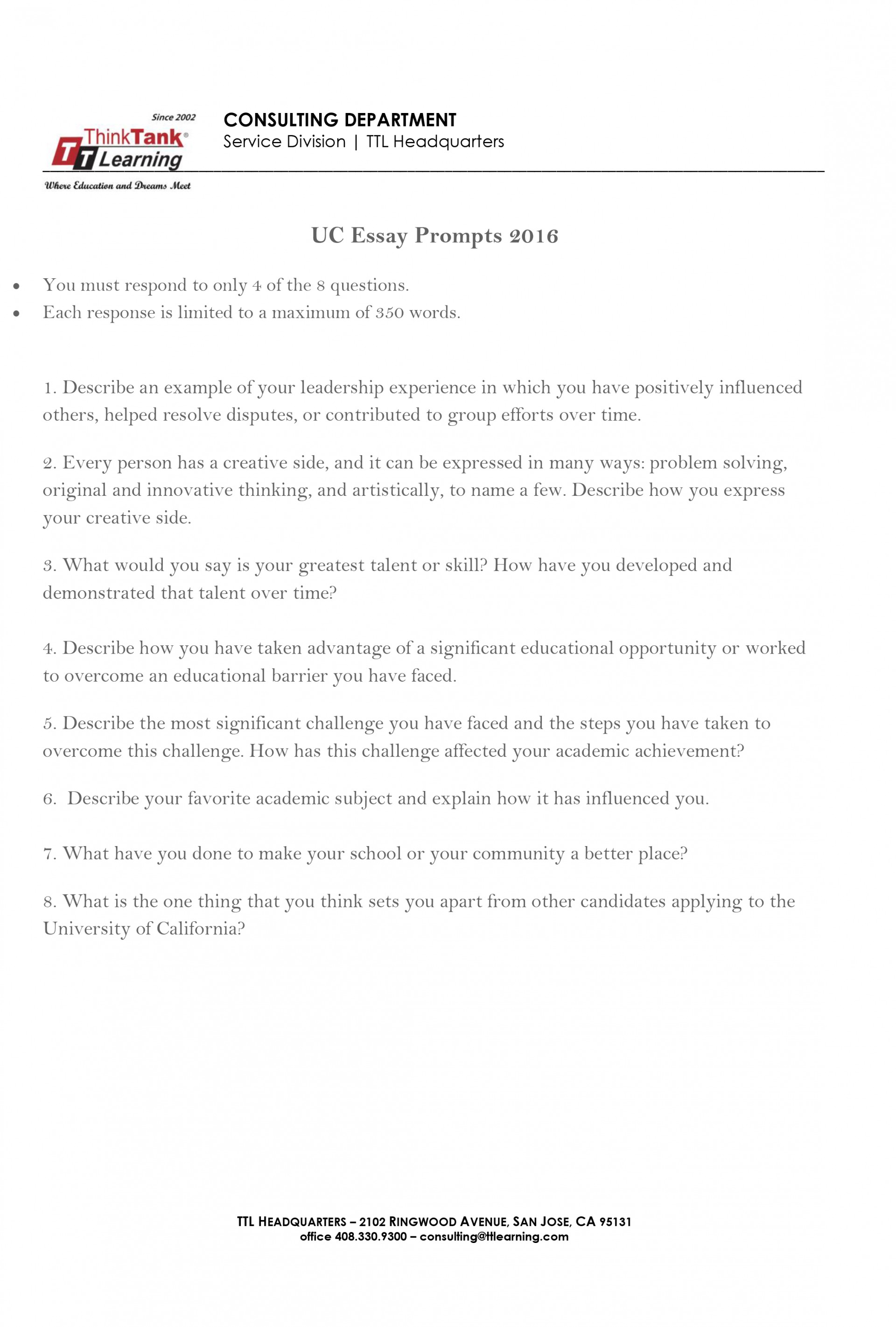 015 Essay Example Ucla Prompt Uc Prompts 2016 2 Fascinating College Application 2018-19 2017 1920